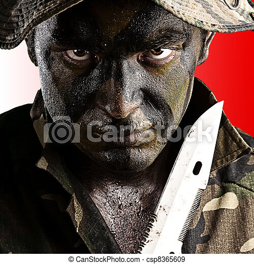 young soldier face - csp8365609