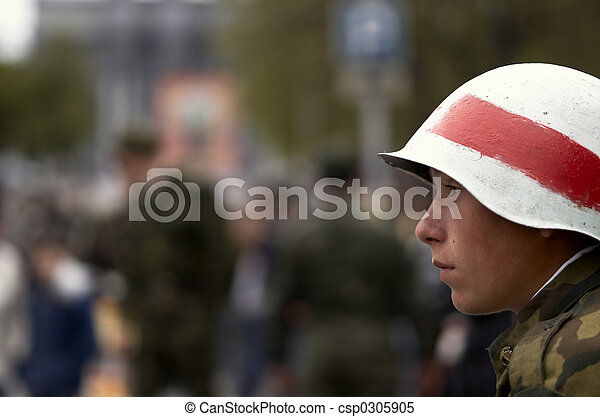 young soldier in white helmet - csp0305905