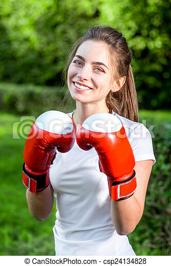 Young sports woman in the park  - csp24134828