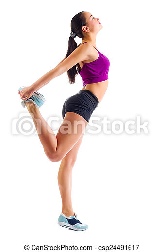 Young sporty girl doing gymnastic exercises - csp24491617