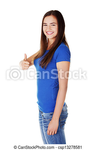 Young student woman gesturing OK - csp13278581