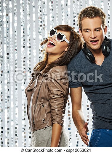 Young stylish couple in the nightclub - csp12053024