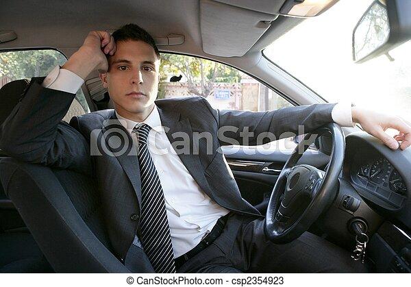 Young suit businessman inside his car - csp2354923