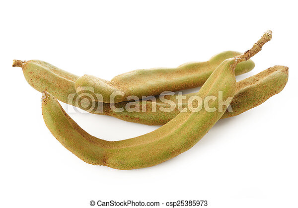 young tamarind on white background - csp25385973