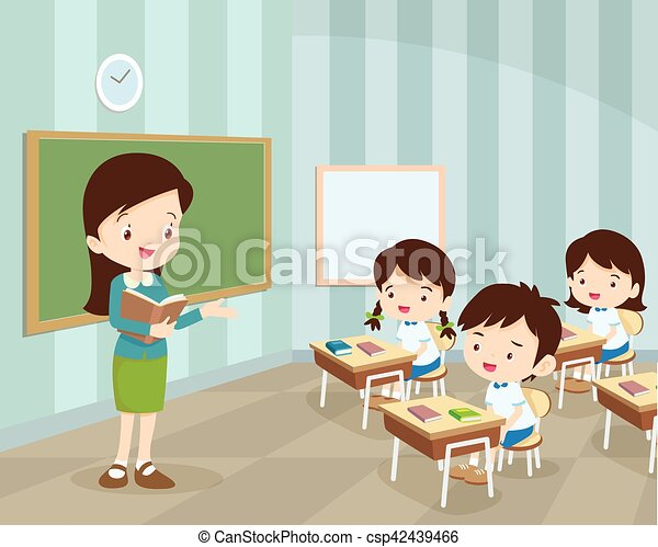 young teacher and students in classroom teacher teaching students rh canstockphoto com classroom with teacher and students clipart teacher teaching students clipart