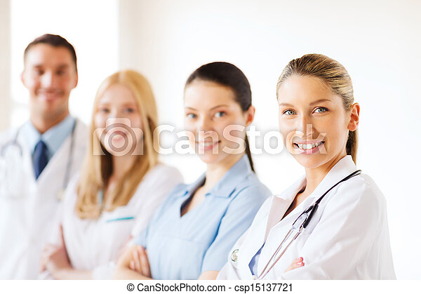 young team or group of doctors - csp15137721