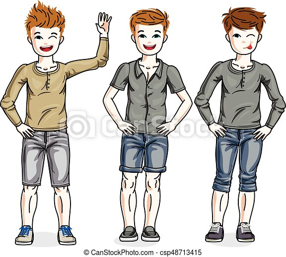 young teen boys cute children group standing in stylish vector rh canstockphoto com Popular Girl Clip Art Clip Art Crowd of Girls