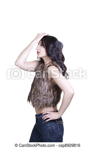 Young Teen East Indian Woman Jeans and Vest - csp8929816