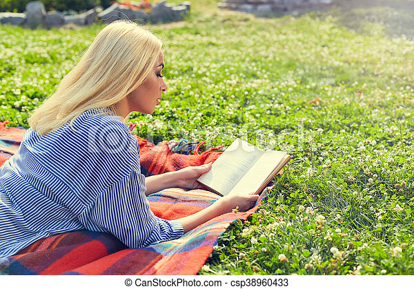 Young Teen Girl Read Book And Study Homework Outdoor