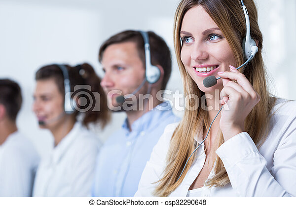 Young telemarketers and products - csp32290648