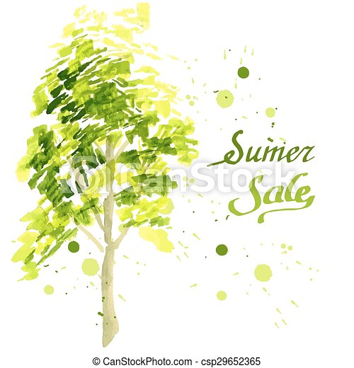 Young tree painted in watercolor - csp29652365