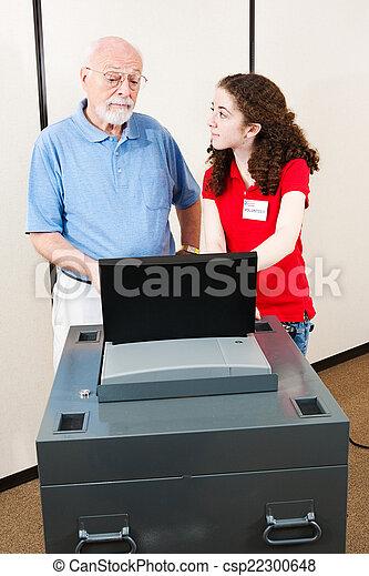 Young Volunteer Helps Voter - csp22300648