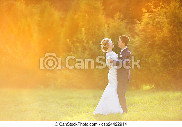 Young wedding couple on summer meadow - csp24422914