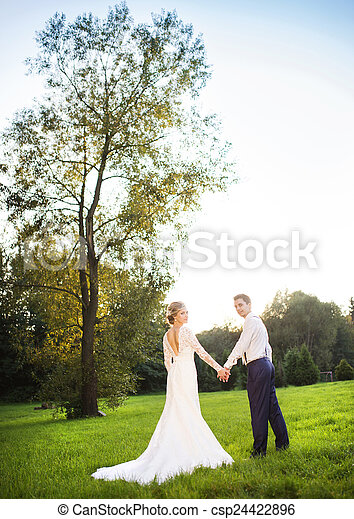 Young wedding couple on summer meadow - csp24422896