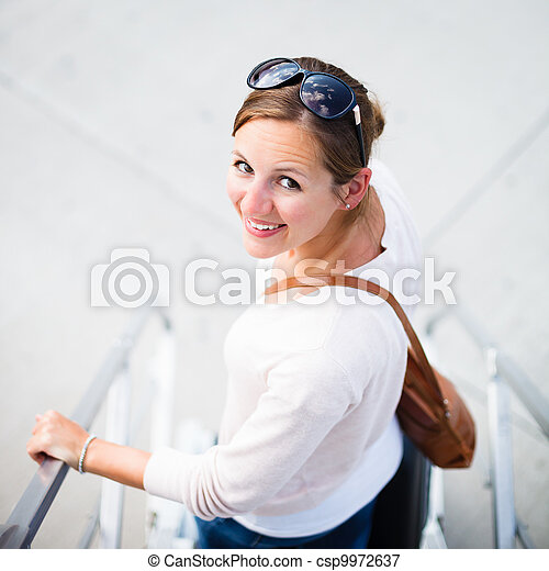 Young woman at an airport  - csp9972637