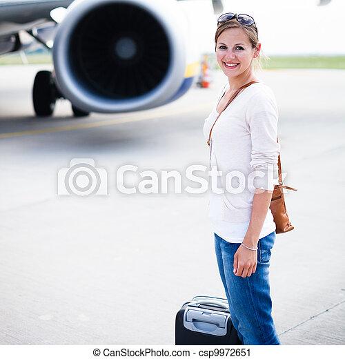 Young woman at an airport  - csp9972651