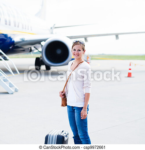 Young woman at an airport  - csp9972661