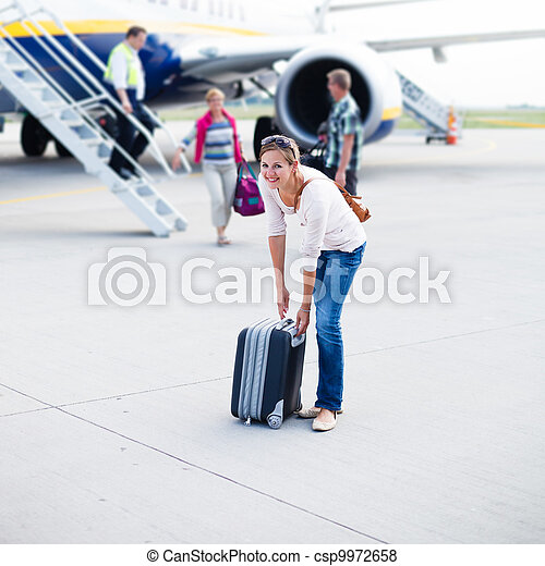 Young woman at an airport  - csp9972658