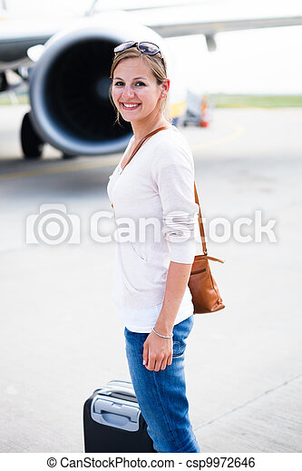 Young woman at an airport  - csp9972646