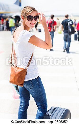 Young woman at an airport - csp12596352