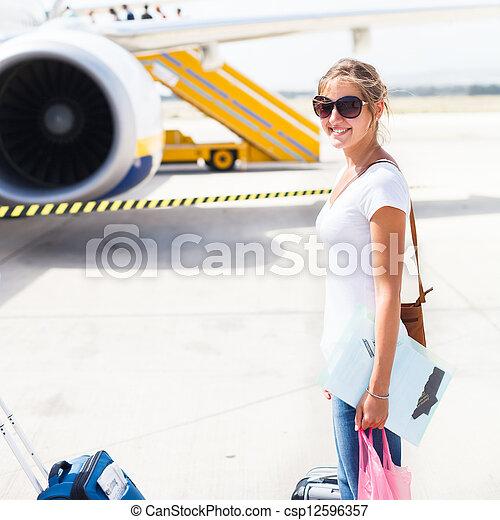 Young woman at an airport - csp12596357
