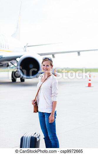 Young woman at an airport  - csp9972665