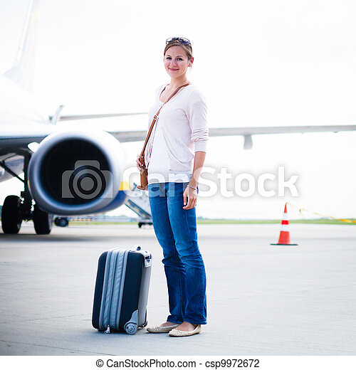 Young woman at an airport  - csp9972672