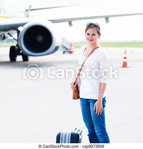 Young woman at an airport  - csp9972669
