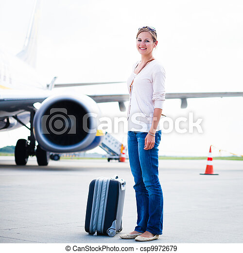 Young woman at an airport  - csp9972679