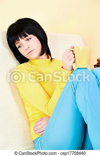 young woman at home - csp17758440