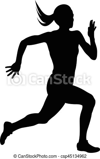 young woman athlete runner running sprint black silhouette clip art rh canstockphoto com clip art of running clipart of runner beans