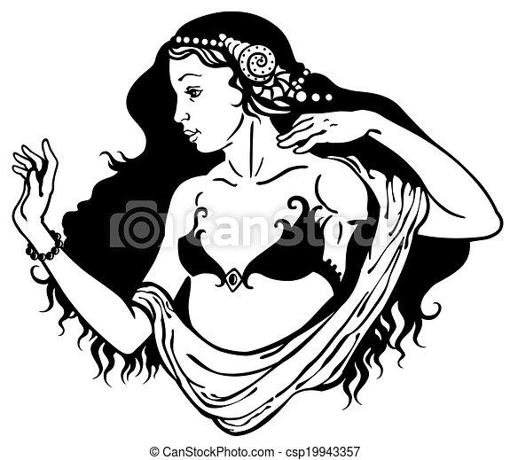 young woman black white - csp19943357