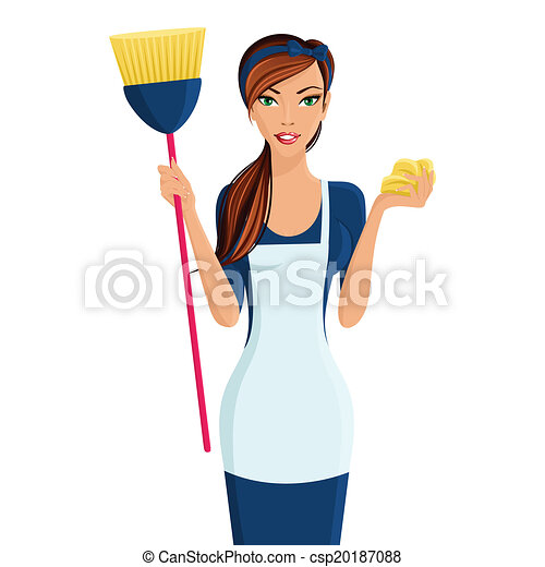 young woman cleaner young beautiful cleaning lady vector rh canstockphoto com house cleaning lady clip art black cleaning lady clip art