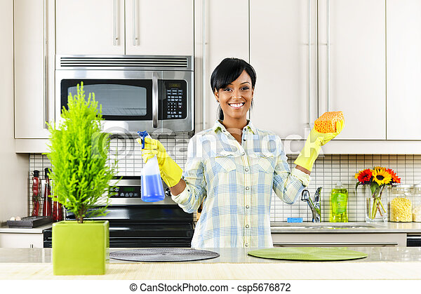 Young woman cleaning kitchen - csp5676872