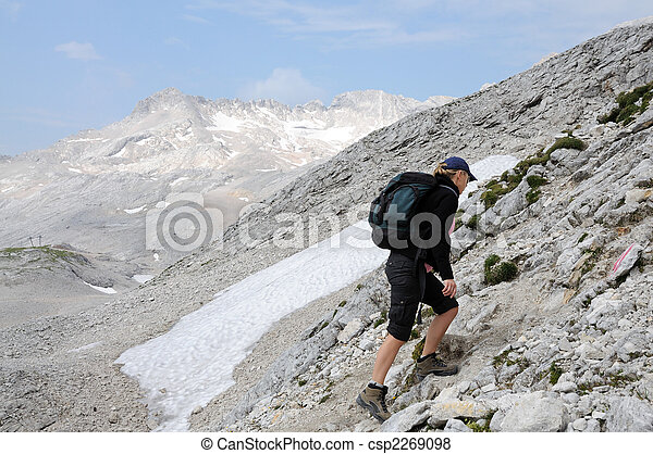 Young woman climbing in the mountains. Alps, Germany - csp2269098