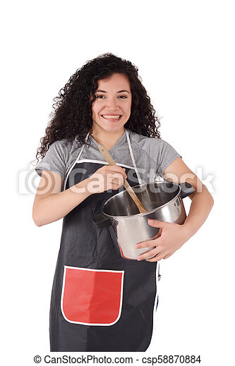 Young woman cooking - csp58870884