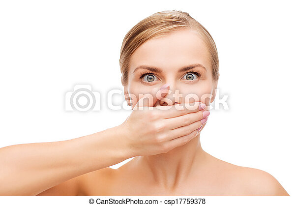 young woman doing hush gesture - csp17759378