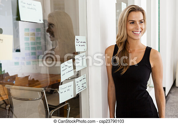 Young woman entrepreneur in her startup office - csp23790103