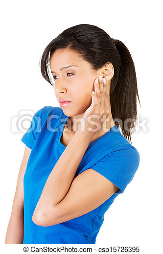 Young woman feeling a pain in ear - csp15726395