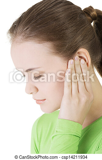 Young woman feeling a pain in ear - csp14211934
