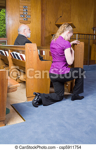 Young Woman Genuflecting Sign of the Cross Church Pew - csp5911754