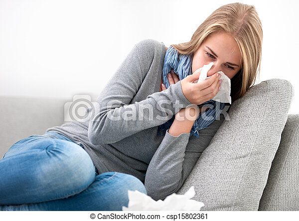 young woman having a cold - csp15802361