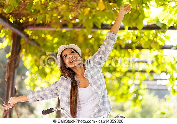 young woman having fun outdoors - csp14359326