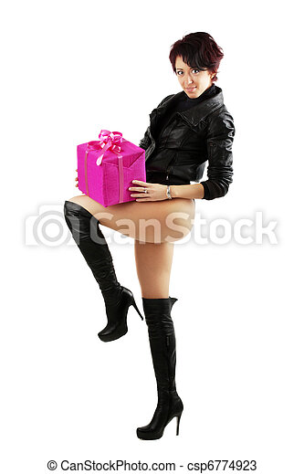7ea985ce238e8 Young woman holding a red giftbox. Beauty young woman in leather ...