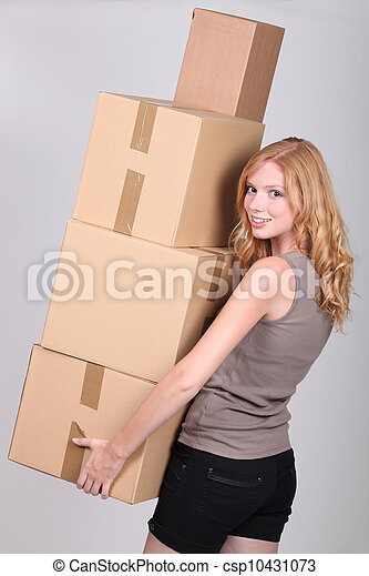 young woman holding cardboxes - csp10431073
