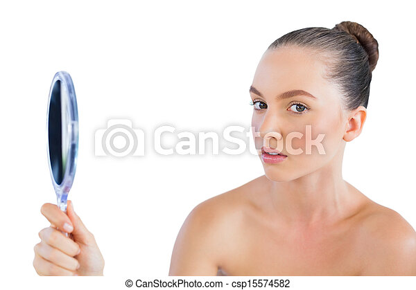 Man Holding Mirror Inside Young Woman Holding Mirror Csp15574582 And Looking At Camera