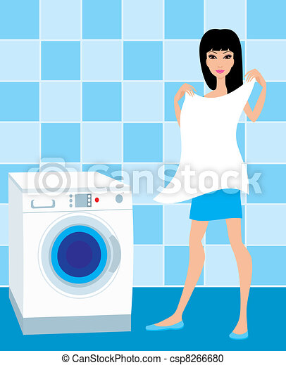 Young woman holds the washed linen - csp8266680