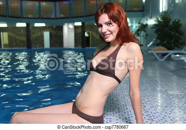 Young Woman In Basin - csp7780667