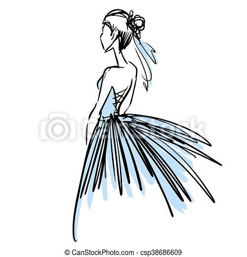 Young woman in beautiful evening dress. Fashion sketch