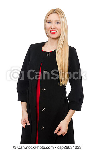 Young woman in black coat isolated on white - csp26834033